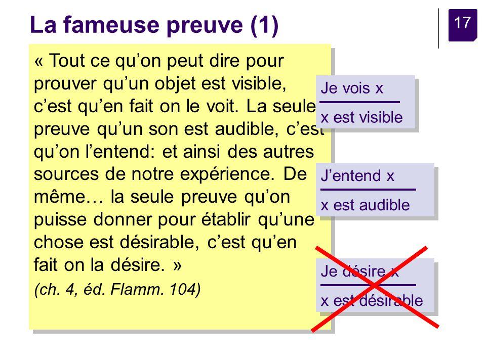 17 La fameuse preuve (1) « Tout ce quon peut dire pour prouver quun objet est visible, cest quen fait on le voit.