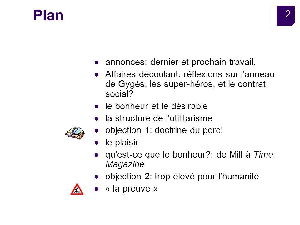 2 Plan annonces: dernier et prochain travail, Affaires découlant: réflexions sur lanneau de Gygès, les super-héros, et le contrat social.