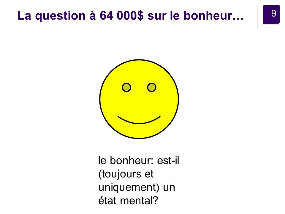 9 La question à 64 000$ sur le bonheur… le bonheur: est-il (toujours et uniquement) un état mental?
