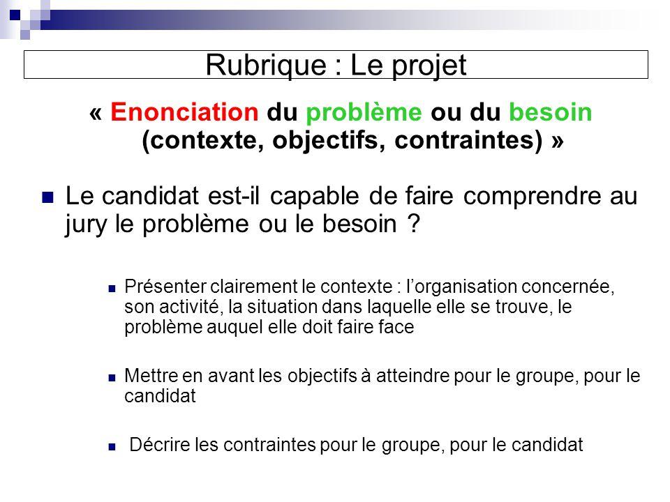 Rubrique : Le projet « Enonciation du problème ou du besoin (contexte, objectifs, contraintes) » Le candidat est-il capable de faire comprendre au jury le problème ou le besoin .