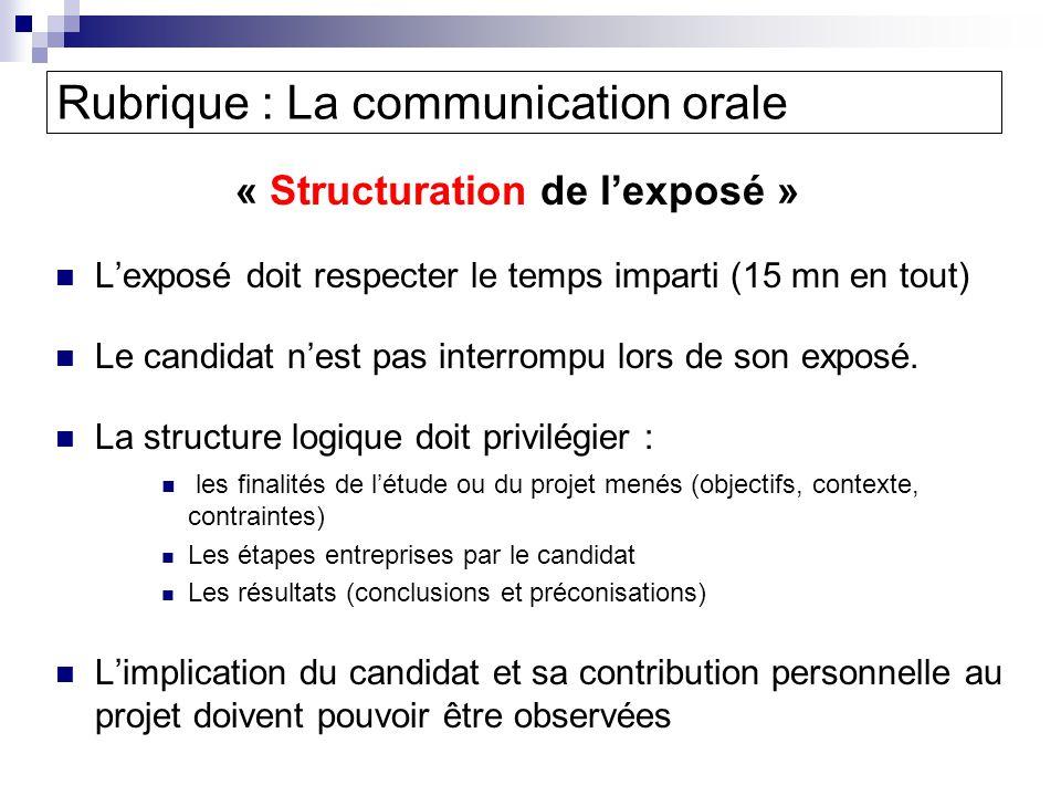 Rubrique : La communication orale « Structuration de lexposé » Lexposé doit respecter le temps imparti (15 mn en tout) Le candidat nest pas interrompu lors de son exposé.