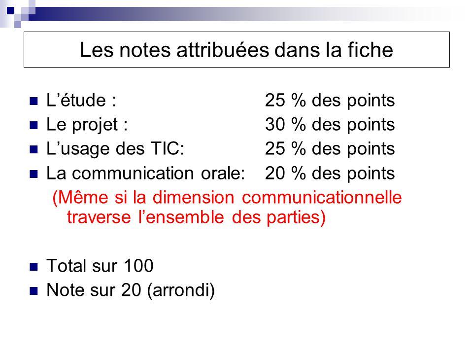 Les notes attribuées dans la fiche Létude : 25 % des points Le projet : 30 % des points Lusage des TIC: 25 % des points La communication orale: 20 % des points (Même si la dimension communicationnelle traverse lensemble des parties) Total sur 100 Note sur 20 (arrondi)