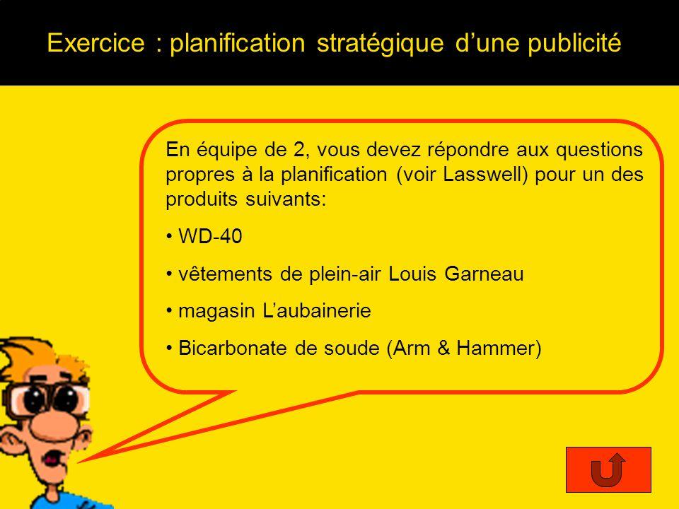 Exercice : planification stratégique dune publicité En équipe de 2, vous devez répondre aux questions propres à la planification (voir Lasswell) pour