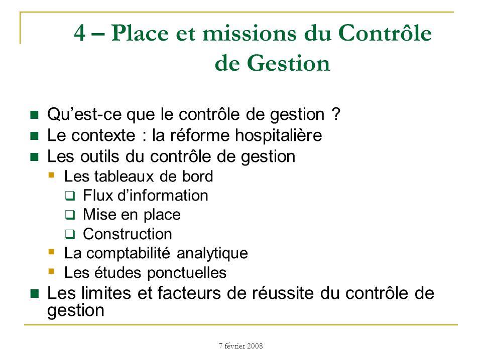 7 février 2008 4 – Place et missions du Contrôle de Gestion Quest-ce que le contrôle de gestion .