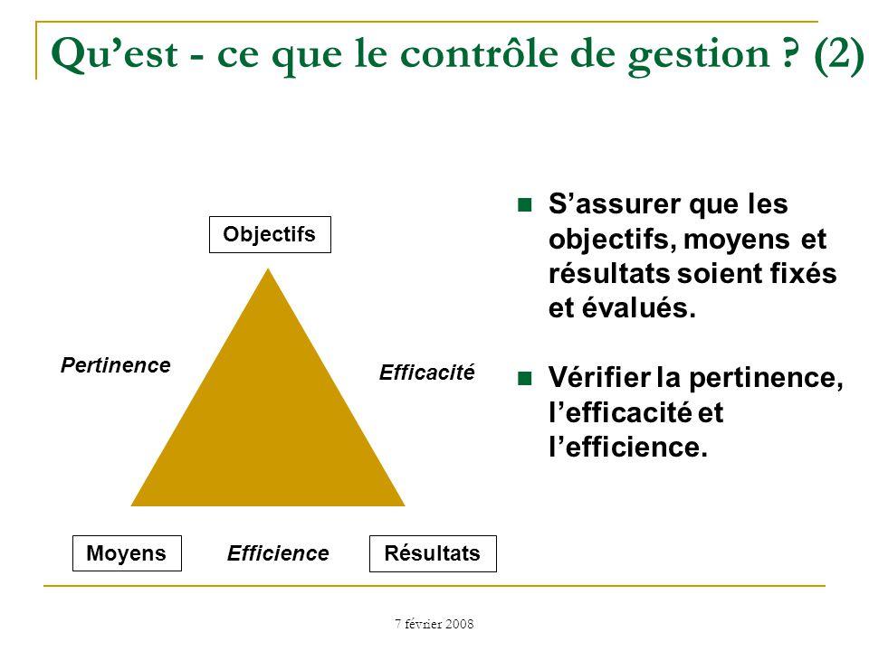 7 février 2008 Quest - ce que le contrôle de gestion .