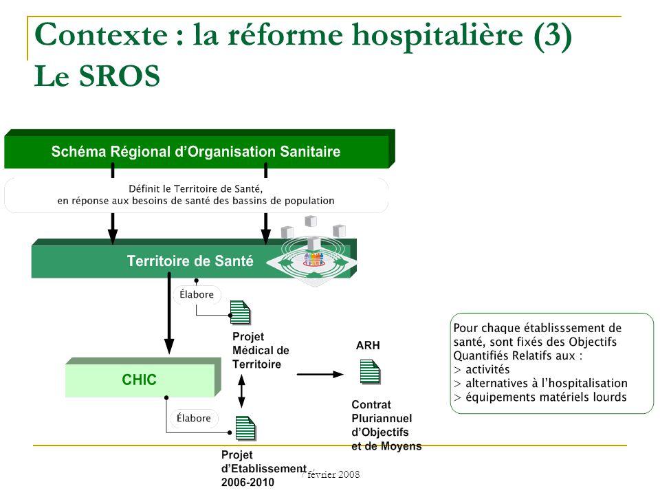7 février 2008 Contexte : la réforme hospitalière (3) Le SROS
