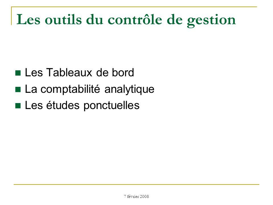 7 février 2008 Les outils du contrôle de gestion Les Tableaux de bord La comptabilité analytique Les études ponctuelles