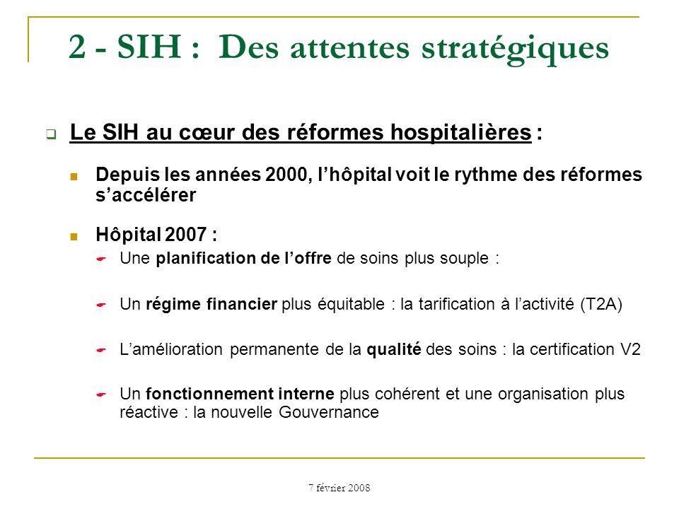 7 février 2008 Contexte : la réforme hospitalière (2) La T2A