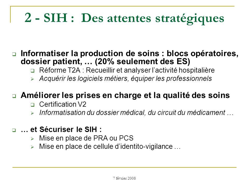 7 février 2008 2 - SIH : Des attentes stratégiques Un SIH « communicant » : Faire communiquer les logiciels « métiers » à lintérieur du SIH rôle majeur de lintégration et de linteropérabilité des systèmes; Développer la mobilité (circuit du médicament) Faire communiquer le SIH avec lextérieur : Liaison sécurisée Ville/Hôpital Préfiguration du DMP Identification unique des patients ; Mise en place dannuaires ; Sécurisation des données ;