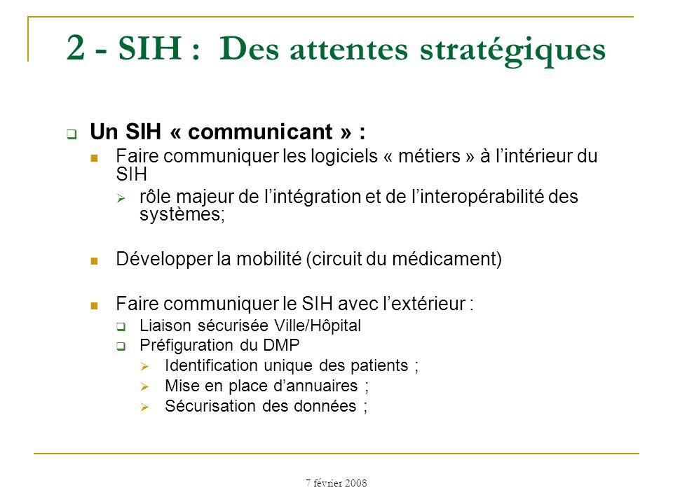 7 février 2008 2 - SIH : Des attentes stratégiques Améliorer les outils de gestion : Développer la Comptabilité analytique Disposer doutils de pilotage : Faciliter les requêtes Rôle des infocentres.