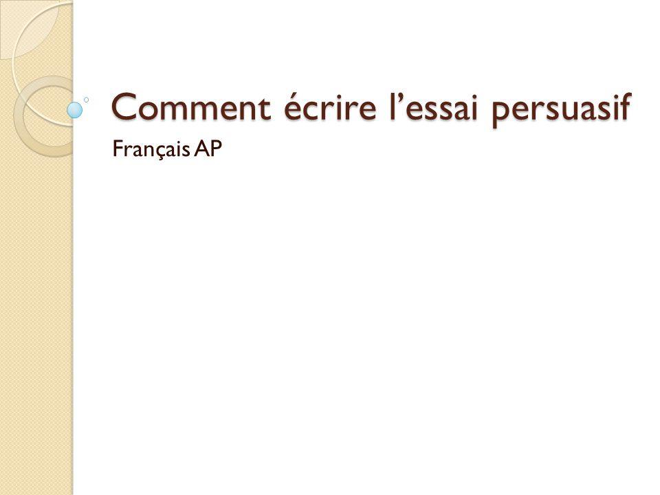 Comment écrire lessai persuasif Français AP