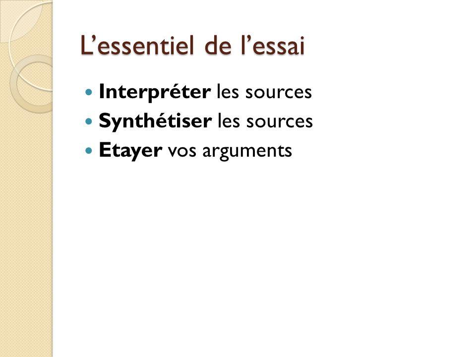 Lessentiel de lessai Interpréter les sources Synthétiser les sources Etayer vos arguments