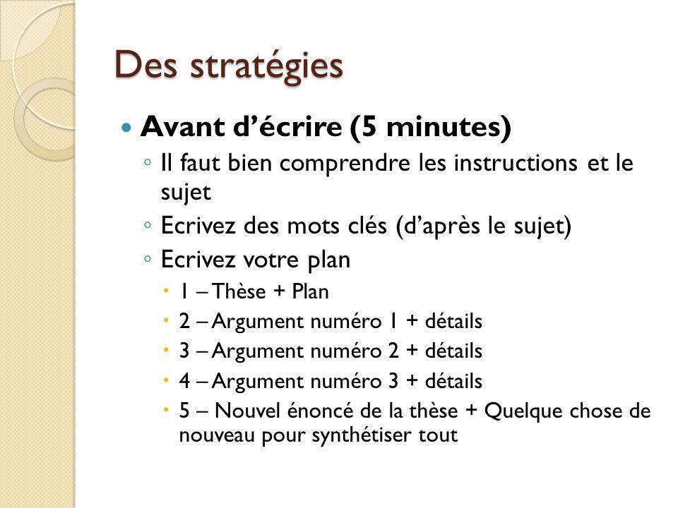 Des stratégies Avant décrire (5 minutes) Il faut bien comprendre les instructions et le sujet Ecrivez des mots clés (daprès le sujet) Ecrivez votre pl