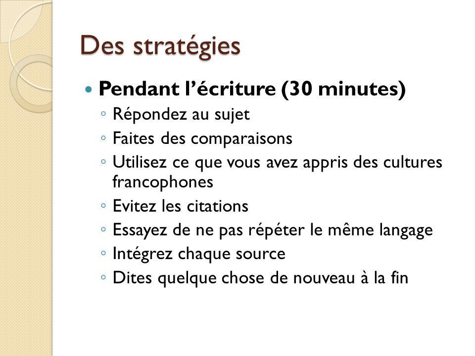 Des stratégies Pendant lécriture (30 minutes) Répondez au sujet Faites des comparaisons Utilisez ce que vous avez appris des cultures francophones Evi