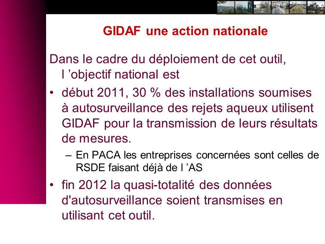 GIDAF une action nationale Dans le cadre du déploiement de cet outil, l objectif national est début 2011, 30 % des installations soumises à autosurvei