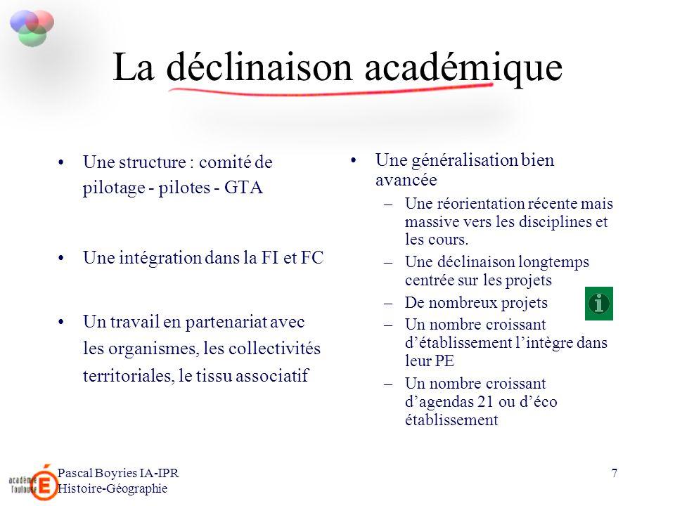 Pascal Boyries IA-IPR Histoire-Géographie 7 La déclinaison académique Une structure : comité de pilotage - pilotes - GTA Une intégration dans la FI et