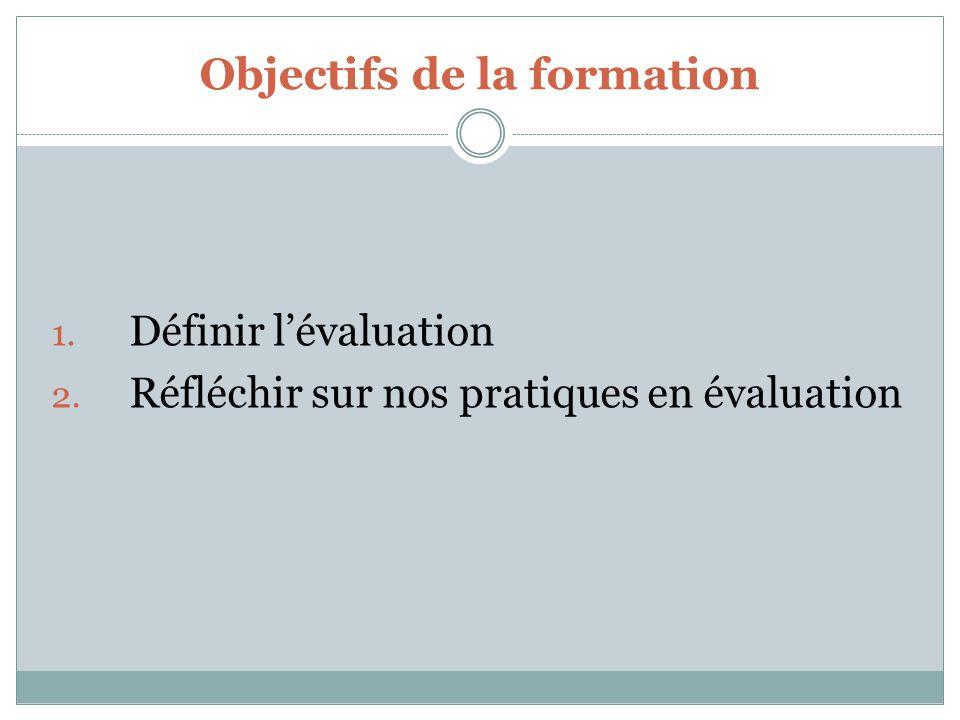 Objectifs de la formation 1. Définir lévaluation 2. Réfléchir sur nos pratiques en évaluation