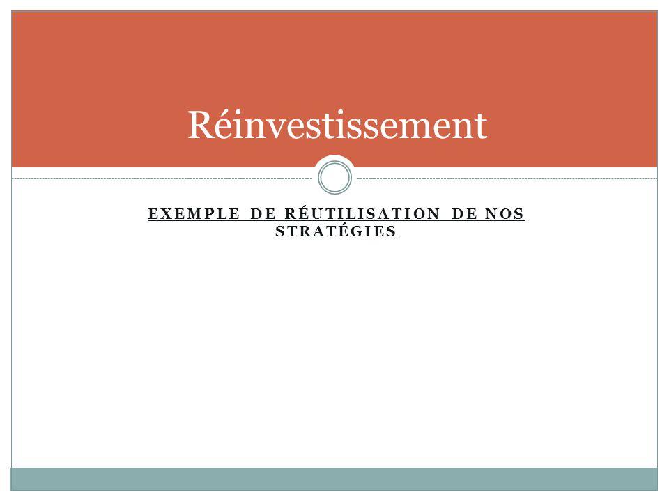 EXEMPLE DE RÉUTILISATION DE NOS STRATÉGIES Réinvestissement