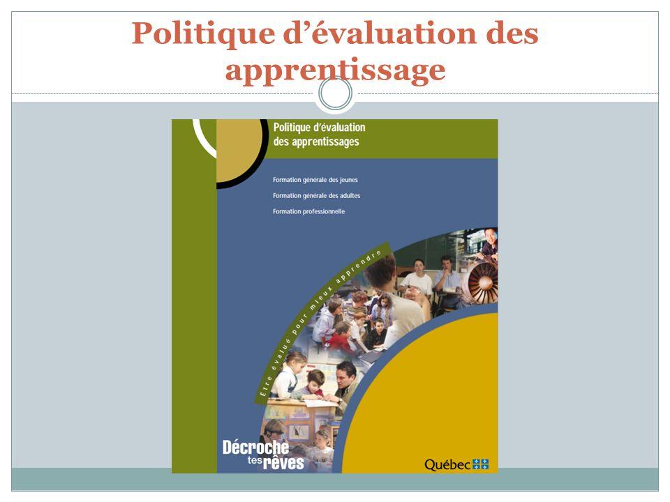 Politique dévaluation des apprentissage