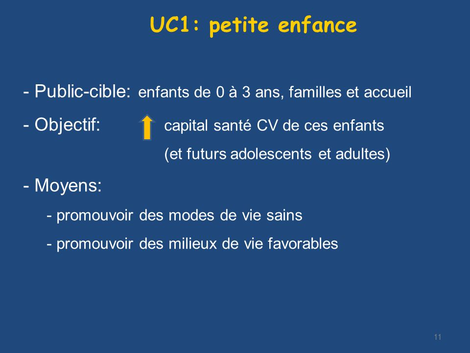 11 UC1: petite enfance - Public-cible: enfants de 0 à 3 ans, familles et accueil - Objectif: capital santé CV de ces enfants (et futurs adolescents et adultes) - Moyens: - promouvoir des modes de vie sains - promouvoir des milieux de vie favorables