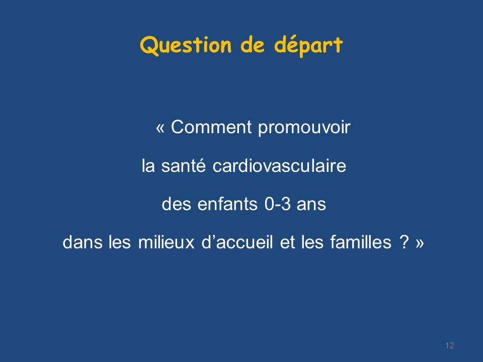 Question de départ « Comment promouvoir la santé cardiovasculaire des enfants 0-3 ans dans les milieux daccueil et les familles .