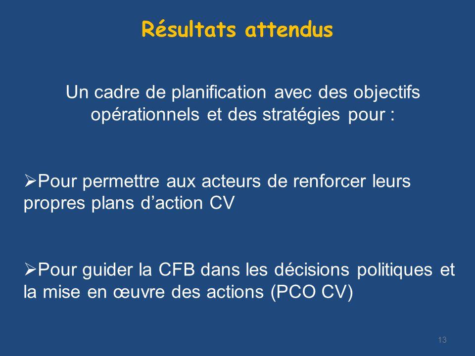 13 Résultats attendus Un cadre de planification avec des objectifs opérationnels et des stratégies pour : Pour permettre aux acteurs de renforcer leurs propres plans daction CV Pour guider la CFB dans les décisions politiques et la mise en œuvre des actions (PCO CV)
