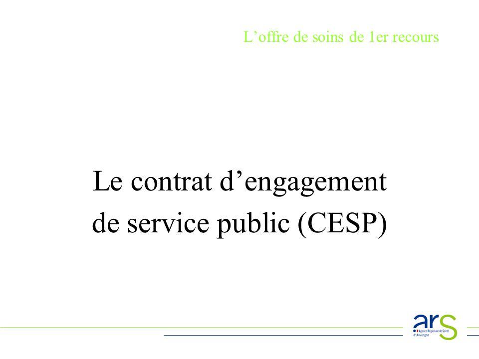 Loffre de soins de 1er recours Le contrat dengagement de service public (CESP)