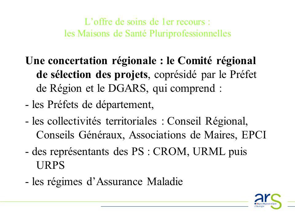 Loffre de soins de 1er recours : les Maisons de Santé Pluriprofessionnelles Une concertation régionale : le Comité régional de sélection des projets, coprésidé par le Préfet de Région et le DGARS, qui comprend : - les Préfets de département, - les collectivités territoriales : Conseil Régional, Conseils Généraux, Associations de Maires, EPCI - des représentants des PS : CROM, URML puis URPS - les régimes dAssurance Maladie