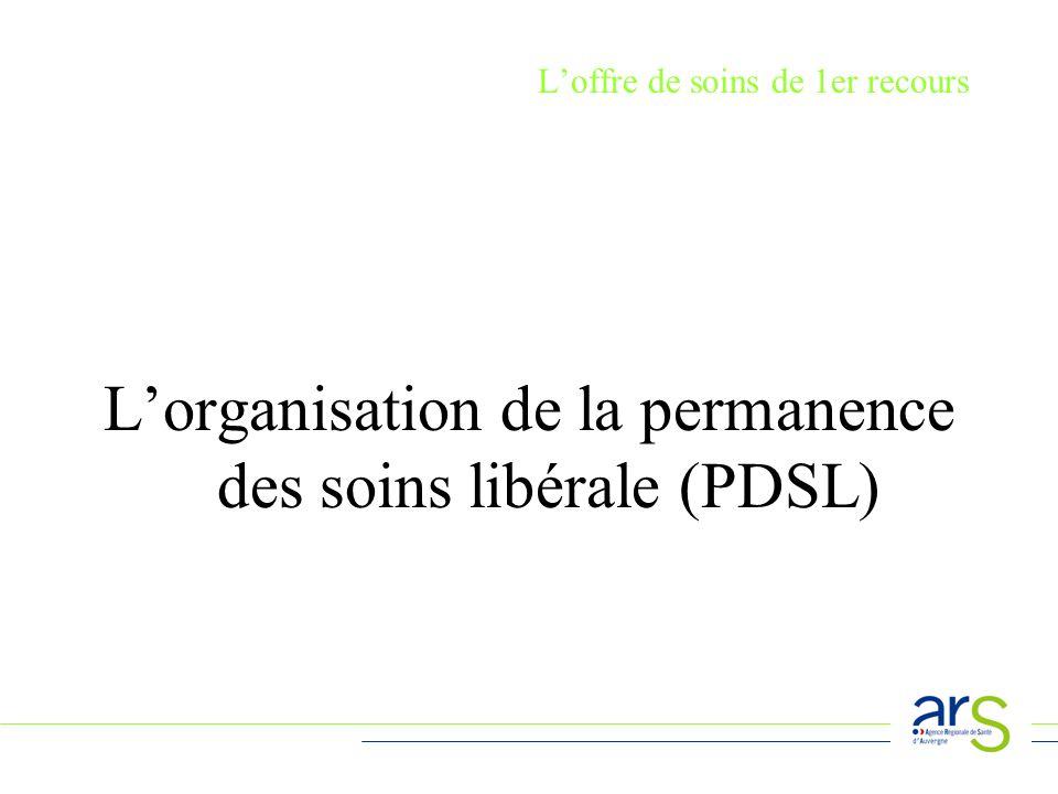 Loffre de soins de 1er recours Lorganisation de la permanence des soins libérale (PDSL)