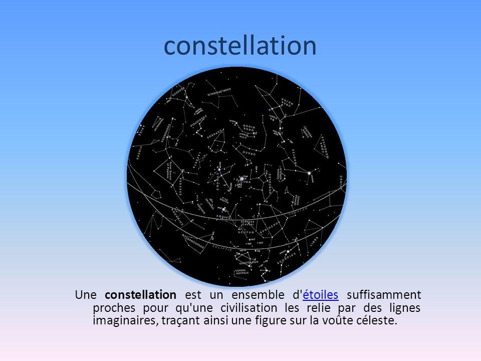 constellation Une constellation est un ensemble d étoiles suffisamment proches pour qu une civilisation les relie par des lignes imaginaires, traçant ainsi une figure sur la voûte céleste.étoiles