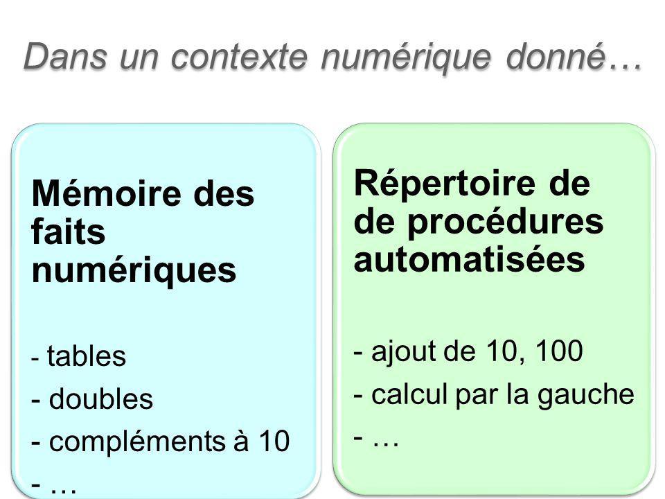 5 Dans un contexte numérique donné… Mémoire des faits numériques - tables - doubles - compléments à 10 - … Répertoire de de procédures automatisées -