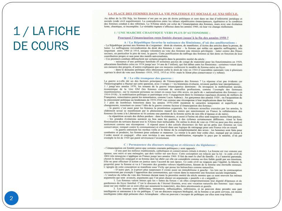 1 / LA FICHE DE COURS 2