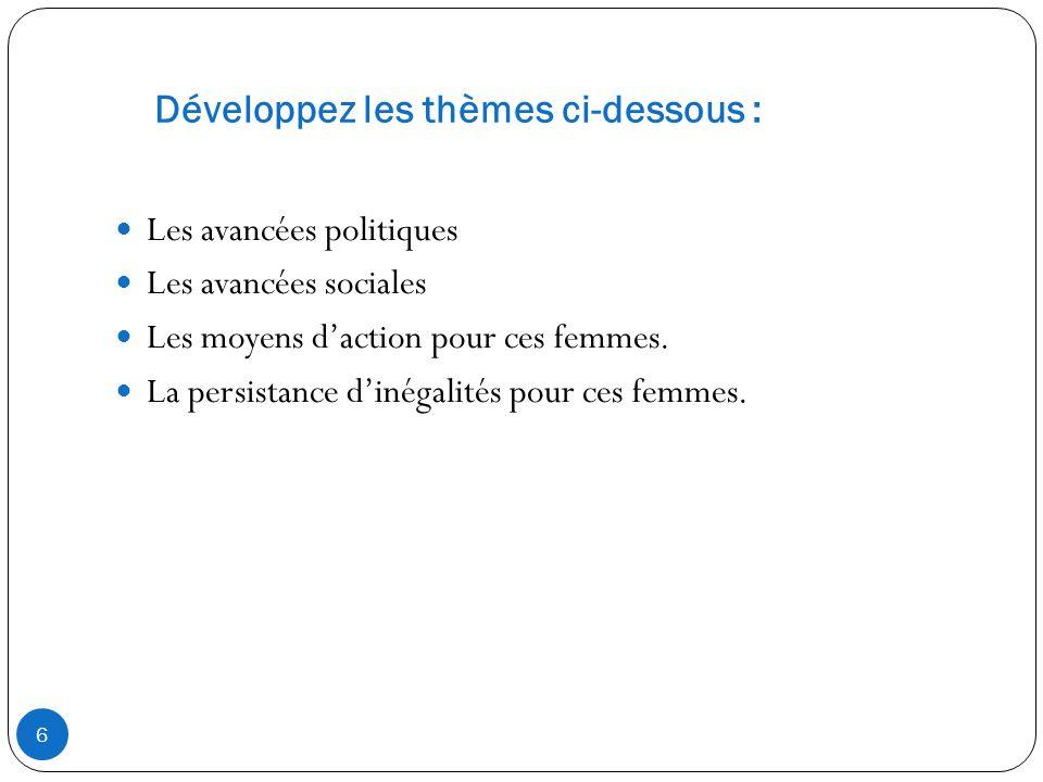 Développez les thèmes ci-dessous : Les avancées politiques Les avancées sociales Les moyens daction pour ces femmes.