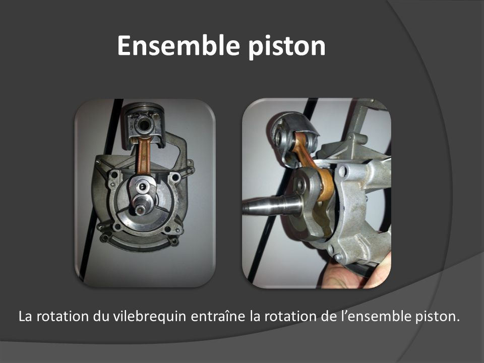 Ensemble piston La rotation du vilebrequin entraîne la rotation de lensemble piston.