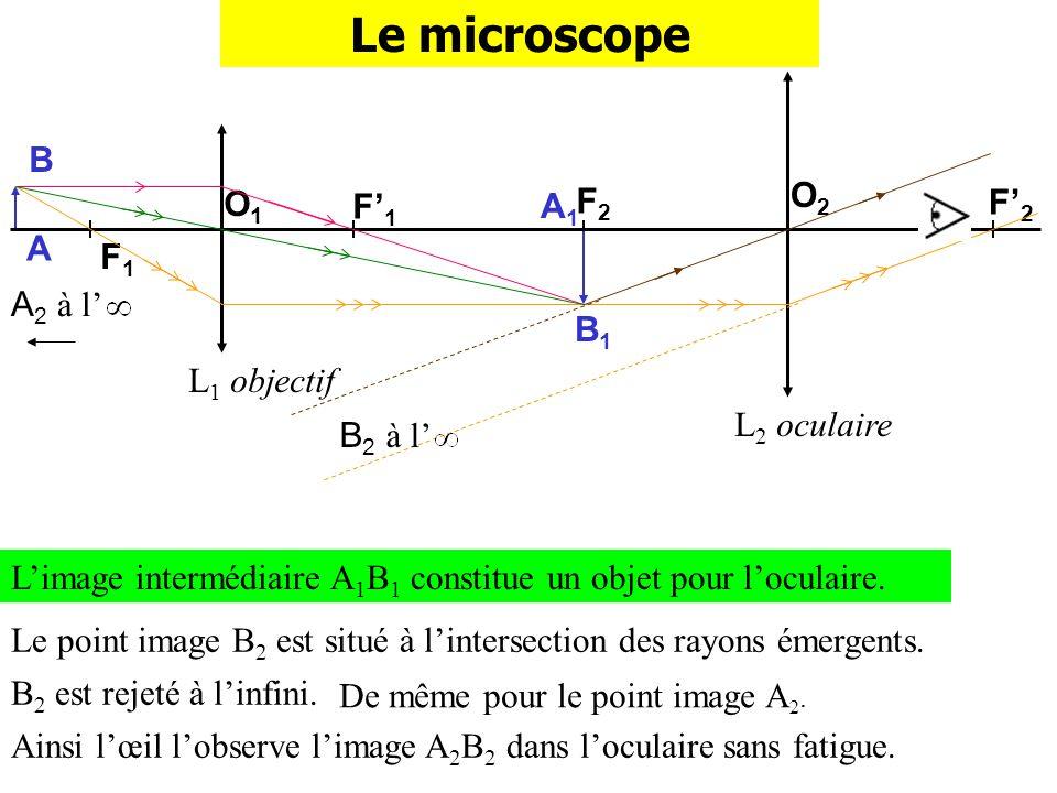 F2F2 Le microscope L 1 objectif L 2 oculaire F1F1 F1F1 O1O1 O2O2 A B F2F2 Limage intermédiaire A 1 B 1 constitue un objet pour loculaire. A1A1 B1B1 Ce