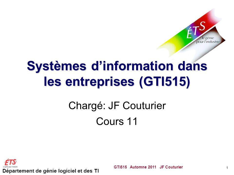 Département de génie logiciel et des TI Systèmes dinformation dans les entreprises (GTI515) Chargé: JF Couturier Cours 11 GTI515 Automne 2011 JF Coutu