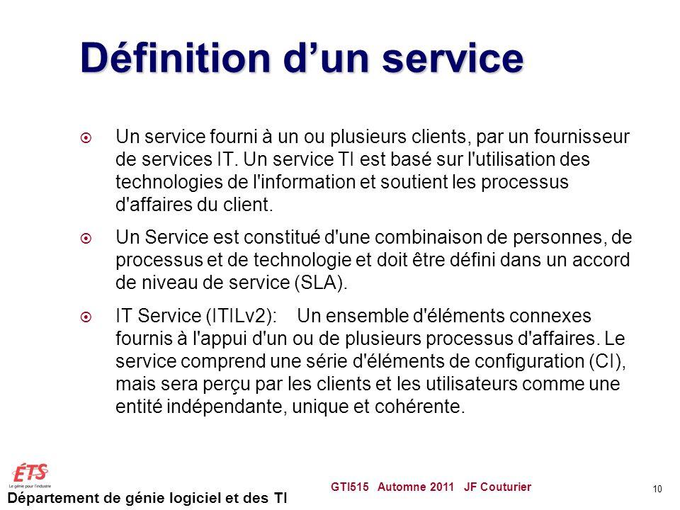 Département de génie logiciel et des TI Définition dun service Un service fourni à un ou plusieurs clients, par un fournisseur de services IT. Un serv