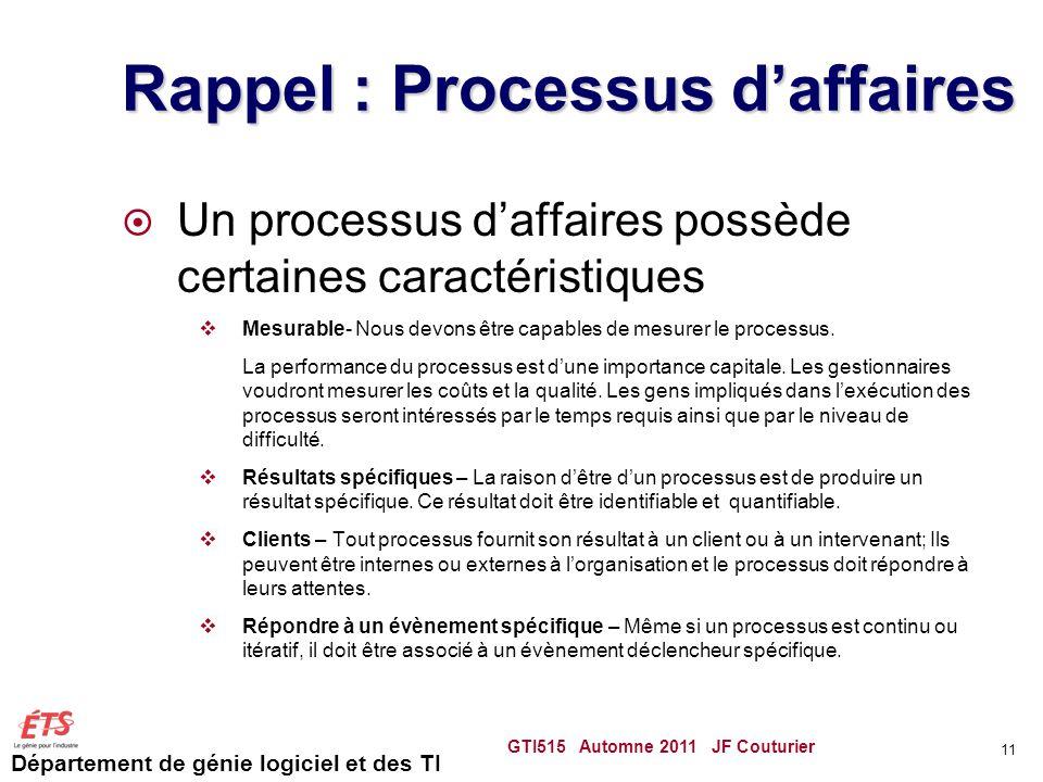 Département de génie logiciel et des TI Rappel : Processus daffaires Un processus daffaires possède certaines caractéristiques Mesurable- Nous devons
