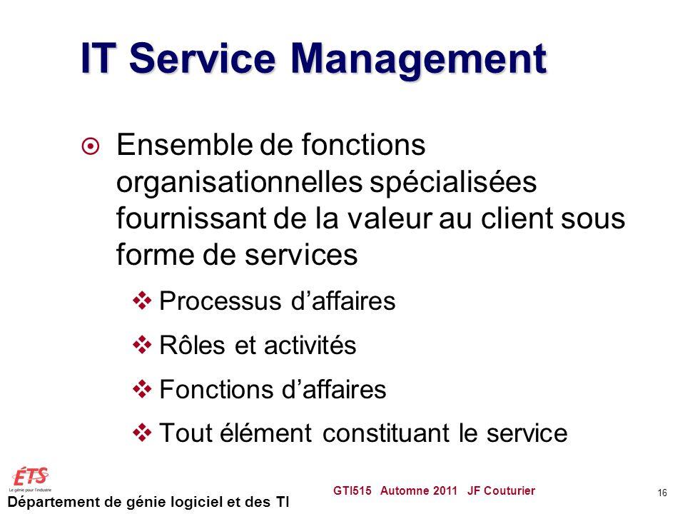 Département de génie logiciel et des TI IT Service Management Ensemble de fonctions organisationnelles spécialisées fournissant de la valeur au client