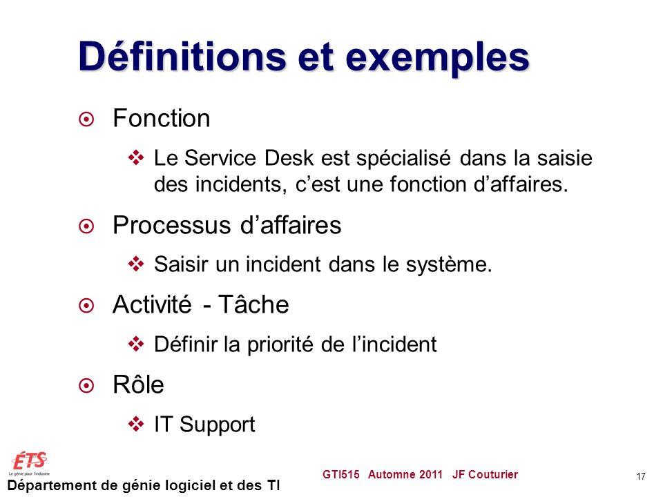 Département de génie logiciel et des TI Définitions et exemples Fonction Le Service Desk est spécialisé dans la saisie des incidents, cest une fonctio