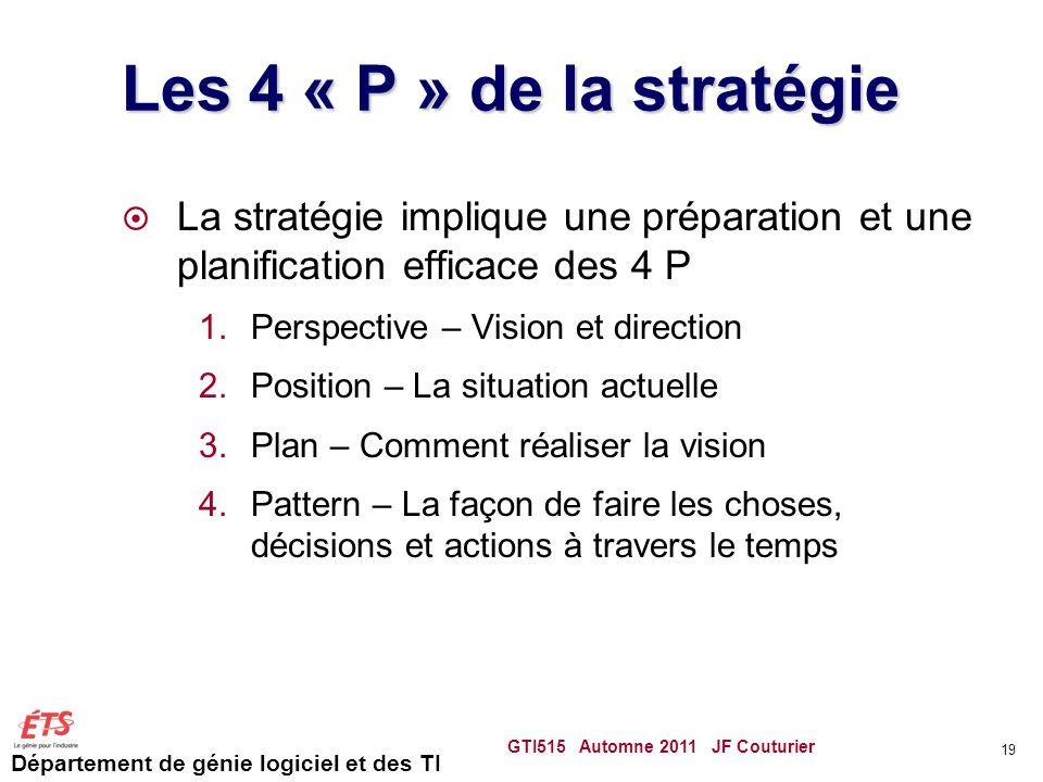 Département de génie logiciel et des TI Les 4 « P » de la stratégie La stratégie implique une préparation et une planification efficace des 4 P 1.Pers