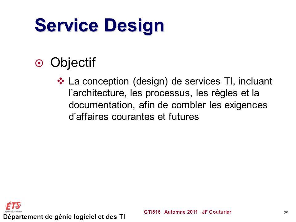 Département de génie logiciel et des TI Service Design Objectif La conception (design) de services TI, incluant larchitecture, les processus, les règl