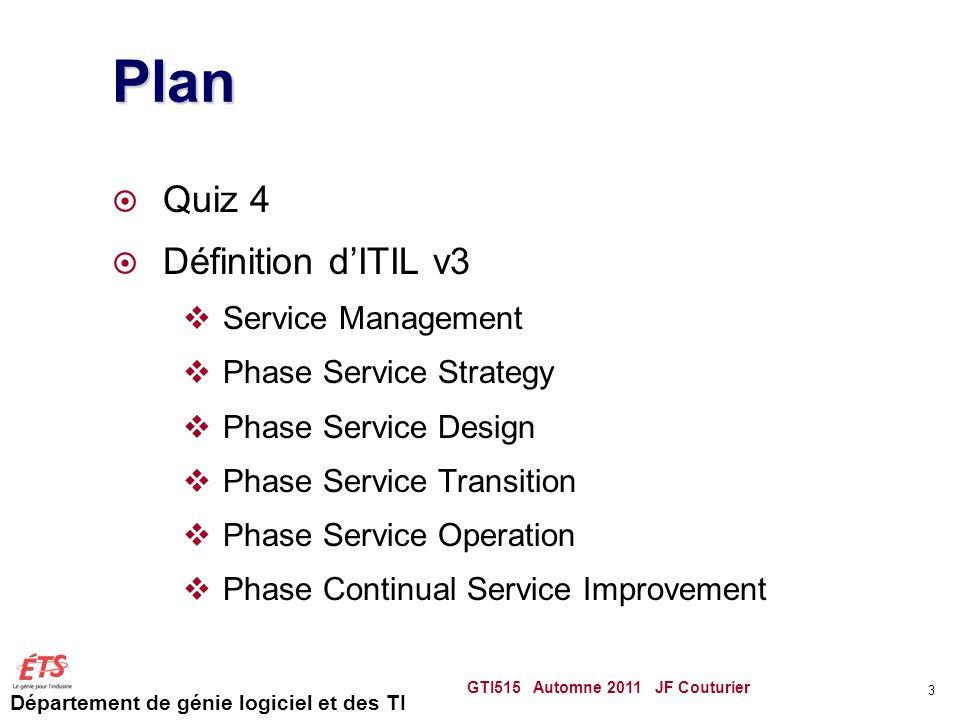 Département de génie logiciel et des TI Sources ITIL Ce cours est inspiré du document An Introductory Overview of ITIL V3 De litSMF (IT Service Management Forum) Également le livre Introduction to ITIL, ITIL v3 Foundations Certification Training disponible sur le site de ITPro.