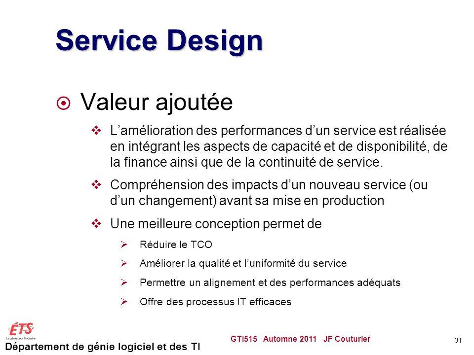 Département de génie logiciel et des TI Service Design Valeur ajoutée Lamélioration des performances dun service est réalisée en intégrant les aspects