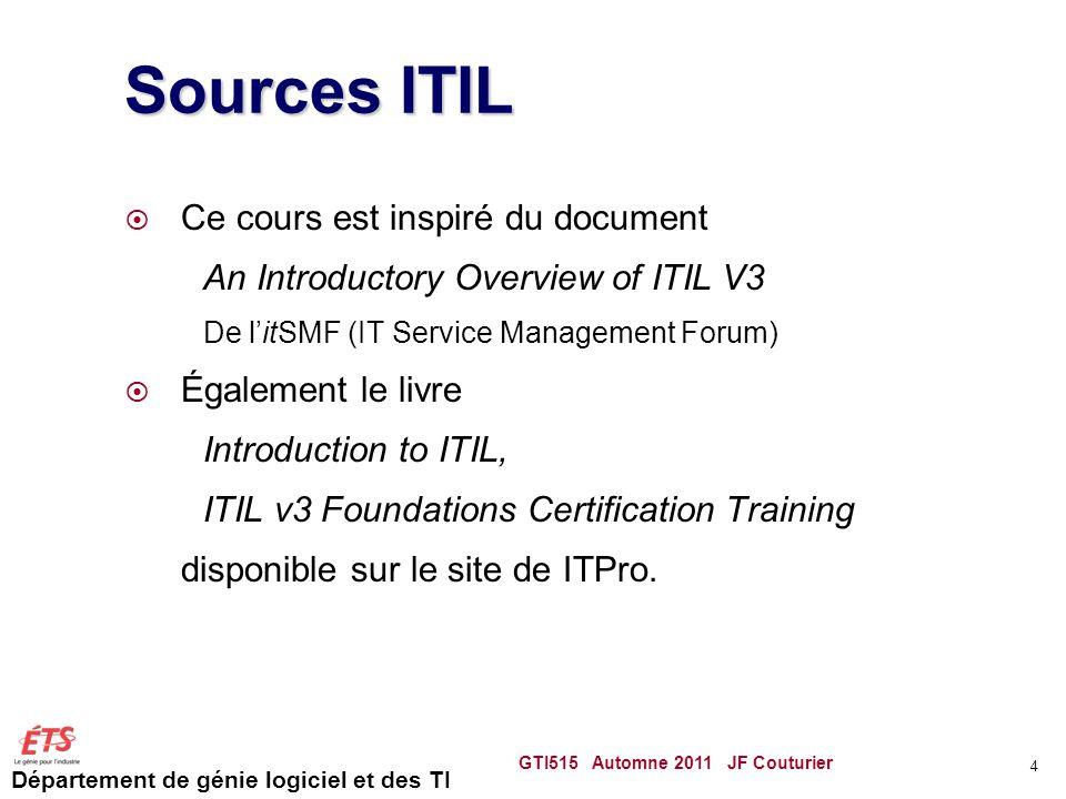 Département de génie logiciel et des TI Sources ITIL Ce cours est inspiré du document An Introductory Overview of ITIL V3 De litSMF (IT Service Manage