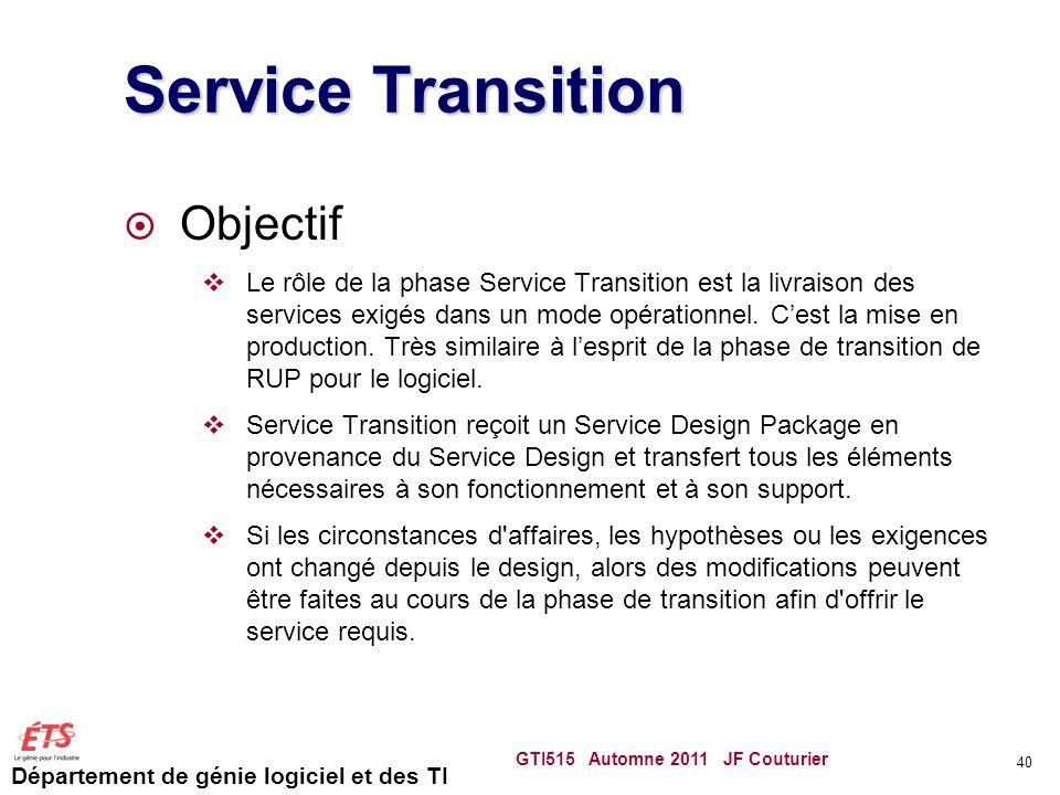 Département de génie logiciel et des TI Service Transition Objectif Le rôle de la phase Service Transition est la livraison des services exigés dans u