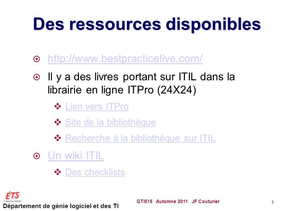 Département de génie logiciel et des TI ITIL ITIL pour Information Technology Infrastructure Library Ensemble de bonnes pratiques pour la gestion des services TI dune organisation.