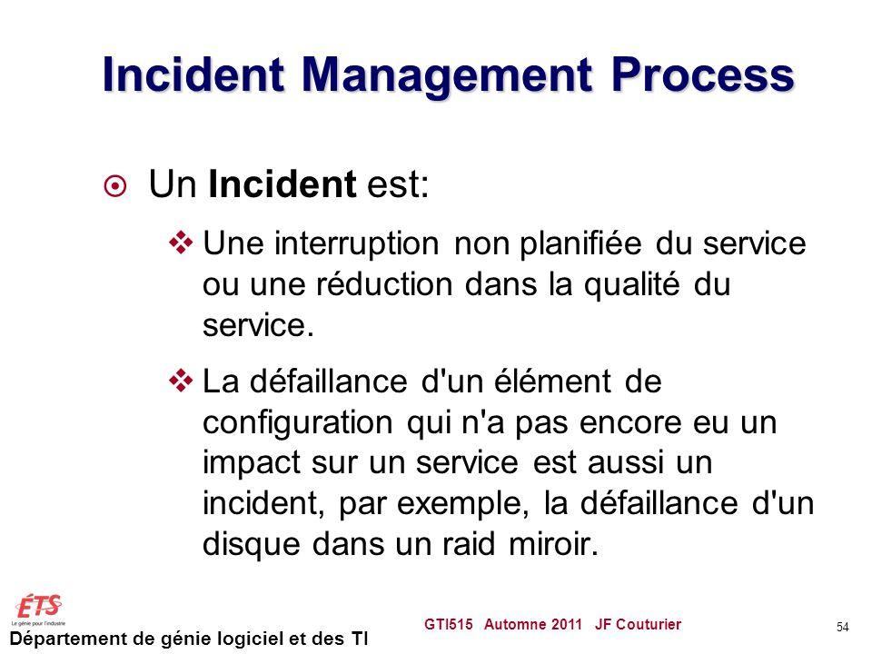 Département de génie logiciel et des TI Incident Management Process Un Incident est: Une interruption non planifiée du service ou une réduction dans l