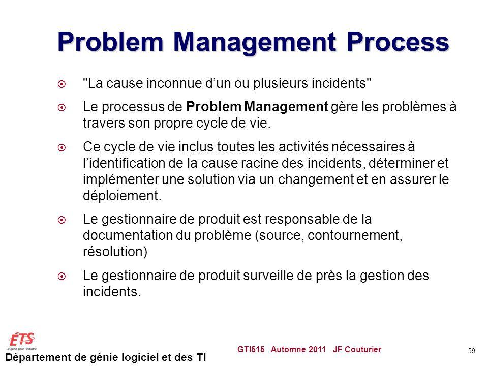 Département de génie logiciel et des TI Problem Management Process
