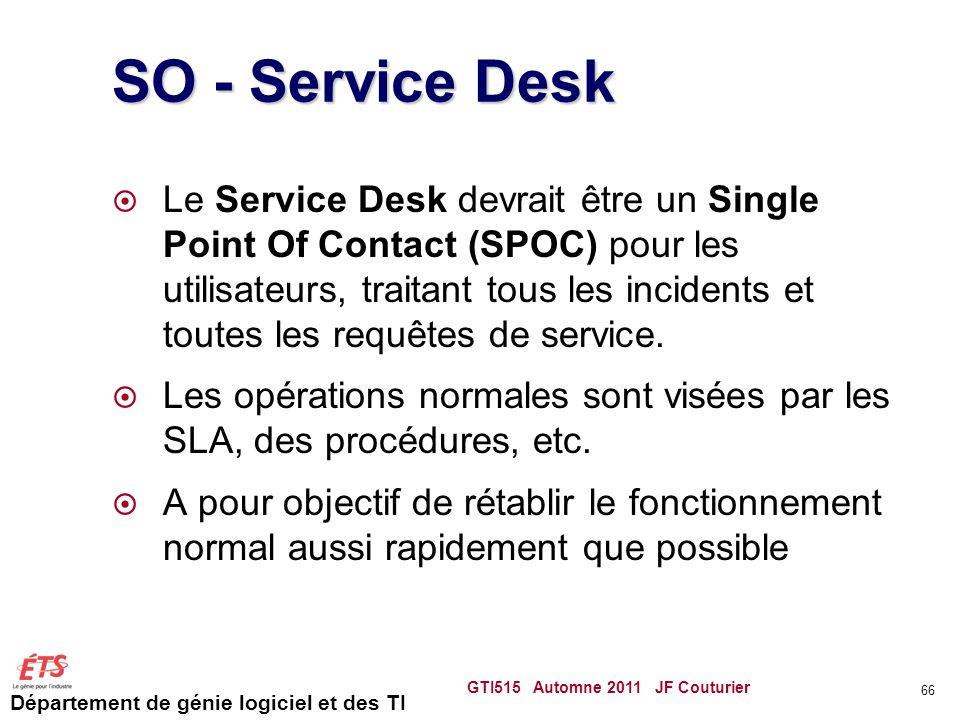 Département de génie logiciel et des TI SO - Service Desk Le Service Desk devrait être un Single Point Of Contact (SPOC) pour les utilisateurs, traita